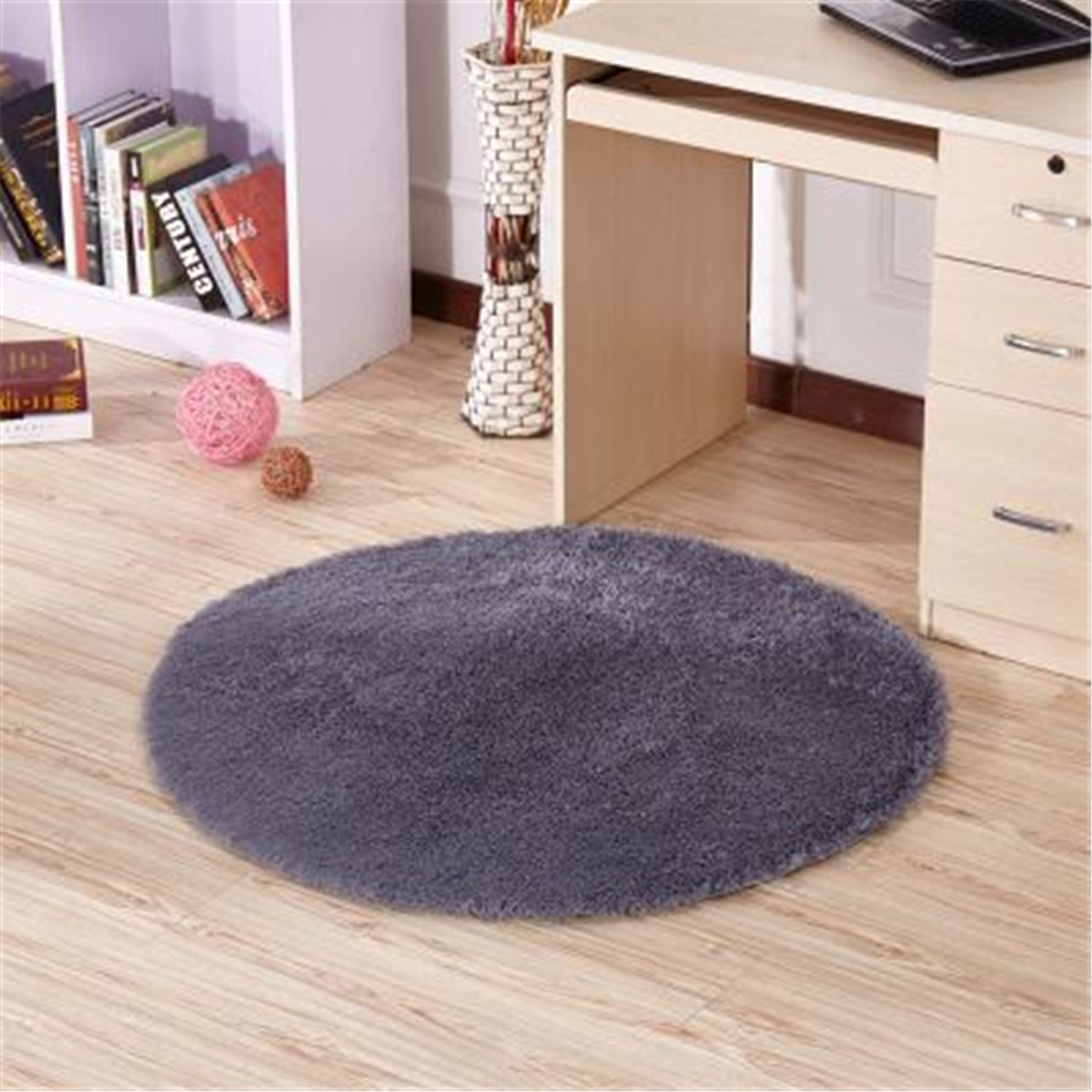 Floor mats and carpets - Grey Floor Mats Modern Shaggy Round Rugs And Carpets Non Slip Shower Living Room Bedroom Carpet