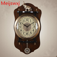 2017 Meijswxj New Large Wall Clock Saat Reloj Relogio de parede European Style Wood Clock Duvar Saati Horloge Murale Mute Clocks