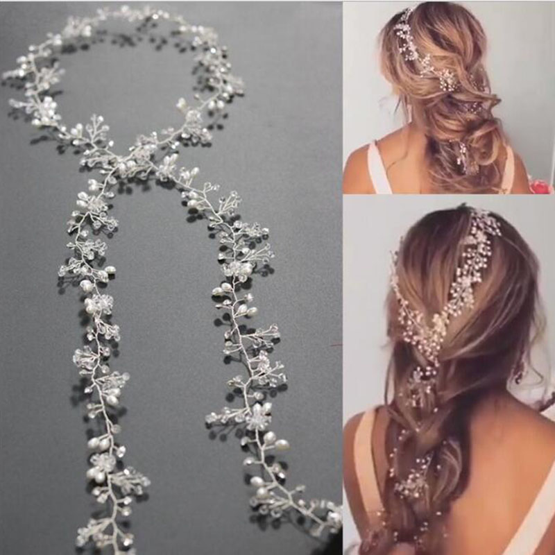 Metting Joura Wedding Party Silver Crystal Beads Pearl Headband Braided Knitted Handmade Hairband Bride Bridal Hair