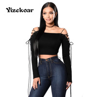 Yizekoar New Arrival Lacing Long Sleeved Crop Top 2017 The Latest Hot Sales Spring Women Novel