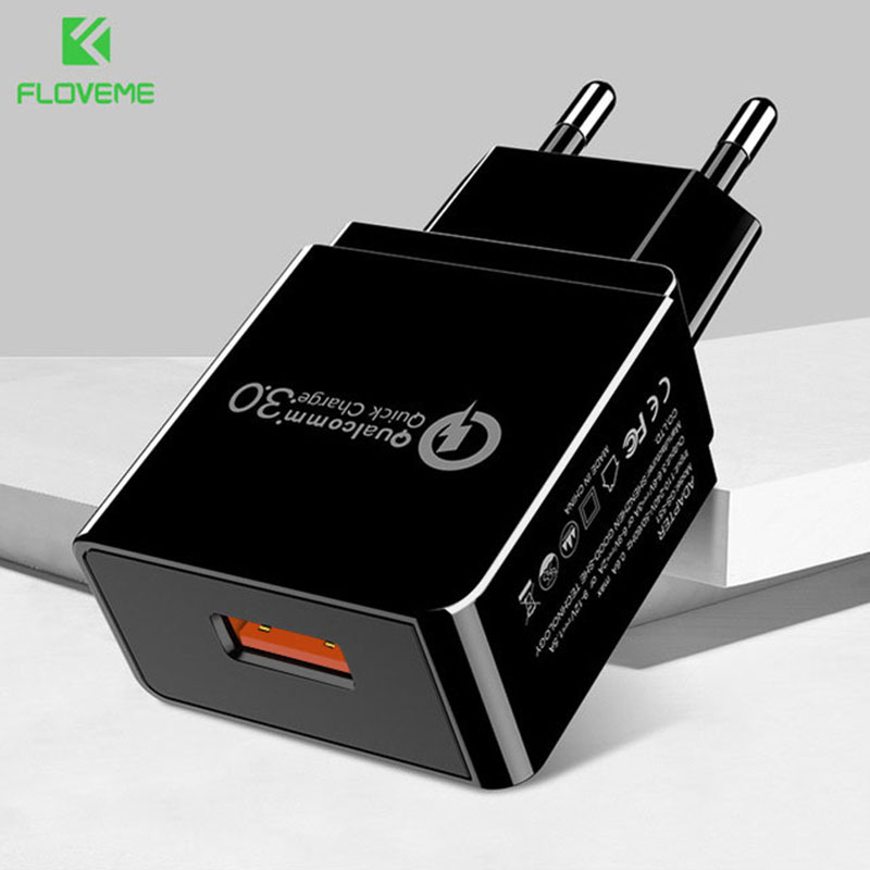 FLOVEME USB Charger Quick Charge 3.0 Fast Charger QC3.0 QC2.0 18W Wall USB Adapter Portable Mobile Phone Charger For Xiaomi 5 S
