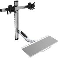 D MOUNT DL JF09 Ergonomic aluminum sit stand 15 27 full motion double screen wall mount bracket+ keyboard holder