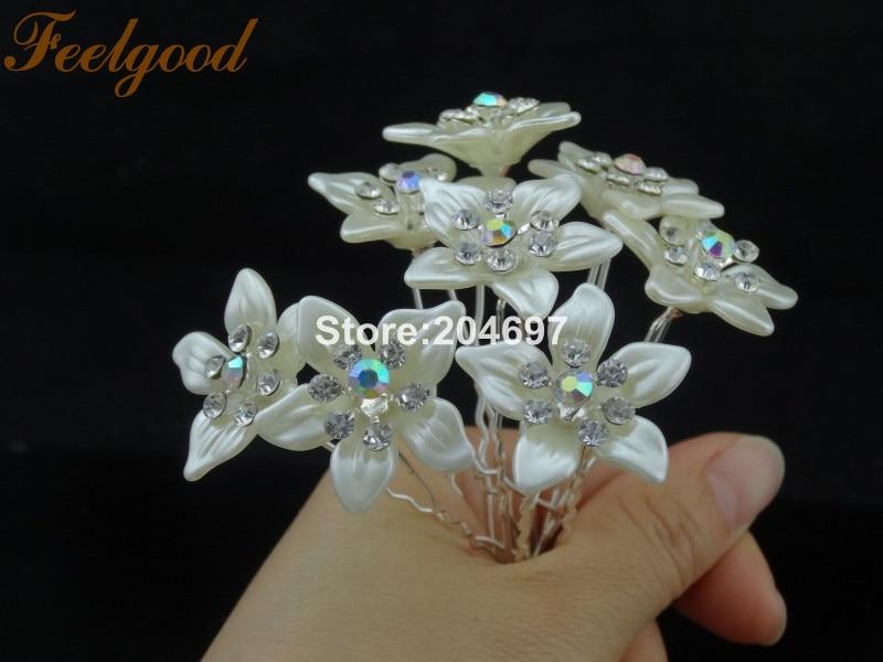 Feelgood 200pcs lot Newest Bridesmaid Wedding Bride Hair Jewelry AB Crystal  Trendy Pearl Flower Hair Pins Wholesale-in Hair Jewelry from Jewelry ... 5abd8d65489c