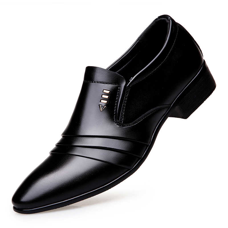 Männer Business Kleid Faulenzer Pointy Schwarz Schuhe Oxford Atmungs Formalen Hochzeit Schuhe niedrigen ferse männer schuhe 5825