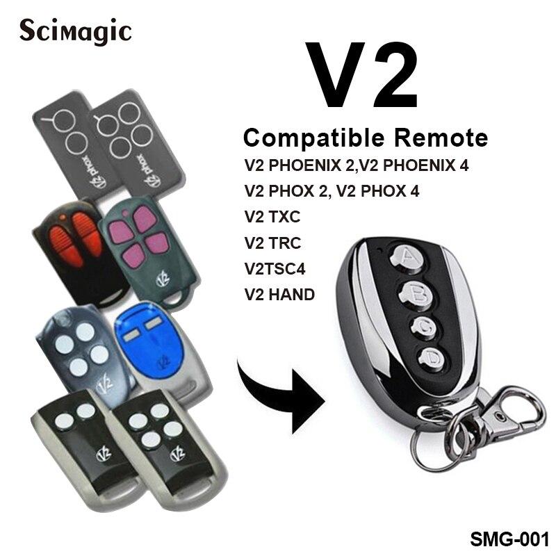 V2 Garage Door Opener V2 PHOX 2 PHOENIX 2 TXC TSC 4 Rolling Code Remote Control Garage Remote Command 433.92MHz Transmitter