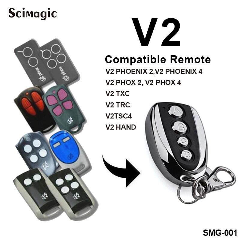 V2 garagedeuropener V2 PHOX 2 PHOENIX 2 TXC TSC 4 TPR1 TRR2 TRR4 afstandsbediening garage remote commando 433.92MHz zender