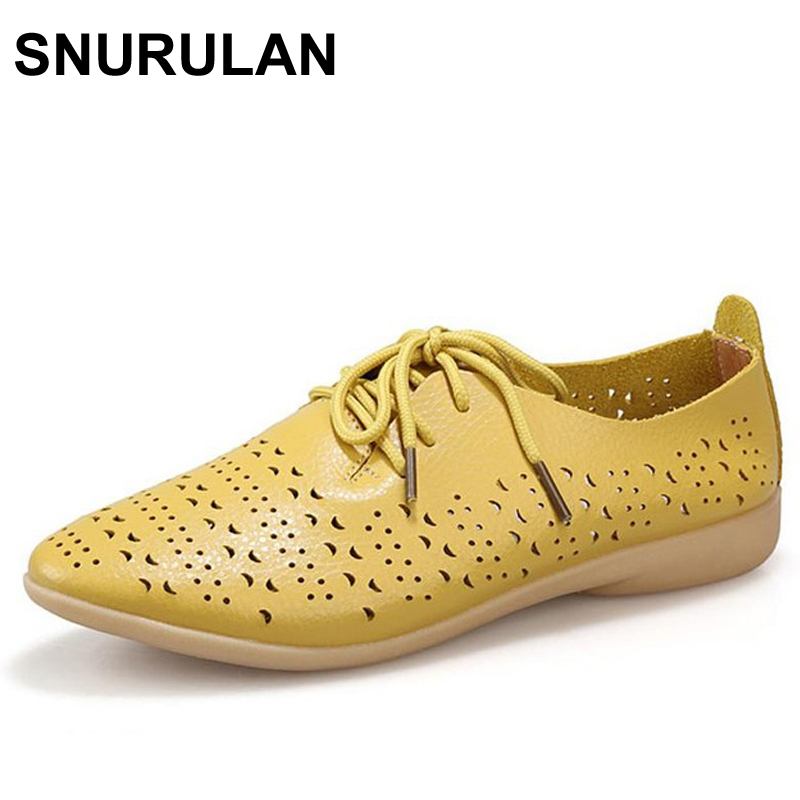 SNURULAN 2017 Split Leather White Shoes For Woman Cow Muscle Soft Bottom Pointed Toe Lace Up Casual Leather Women Flat Shoes xiuningyan soft leather women shoes brogues lace up flat pointed toe patent leather white oxfords women casual shoes for women