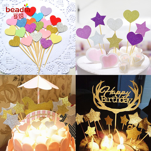 10pcs/Lot Heart/Cute Star Cake Topper Birthday Baby Shower Decorations Boys  Girls Kids