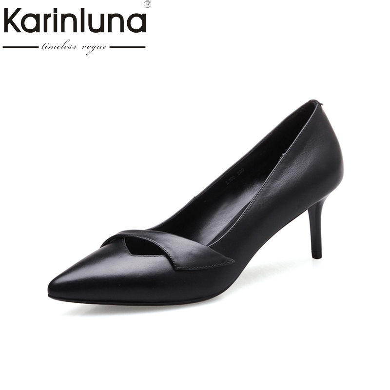 KARINLUNA fashion cow leather size 34-39 black white women shoes sexy pointed toe thin high heel slip on woman pumps office flats man loafers shoes pointed toe high quality big size 46 39 black white orange slip on pu leather new arrival 2017 ephemeral