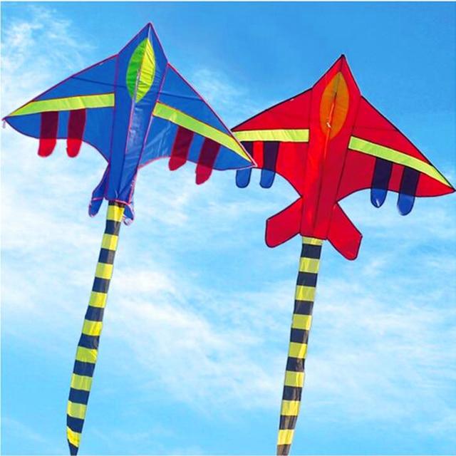 Бесплатная доставка большой истребитель самолет кайт 10 шт./лот nylon ripstop кайт линии открытый летающие игрушки вэйфан кайт завод эльф самолет