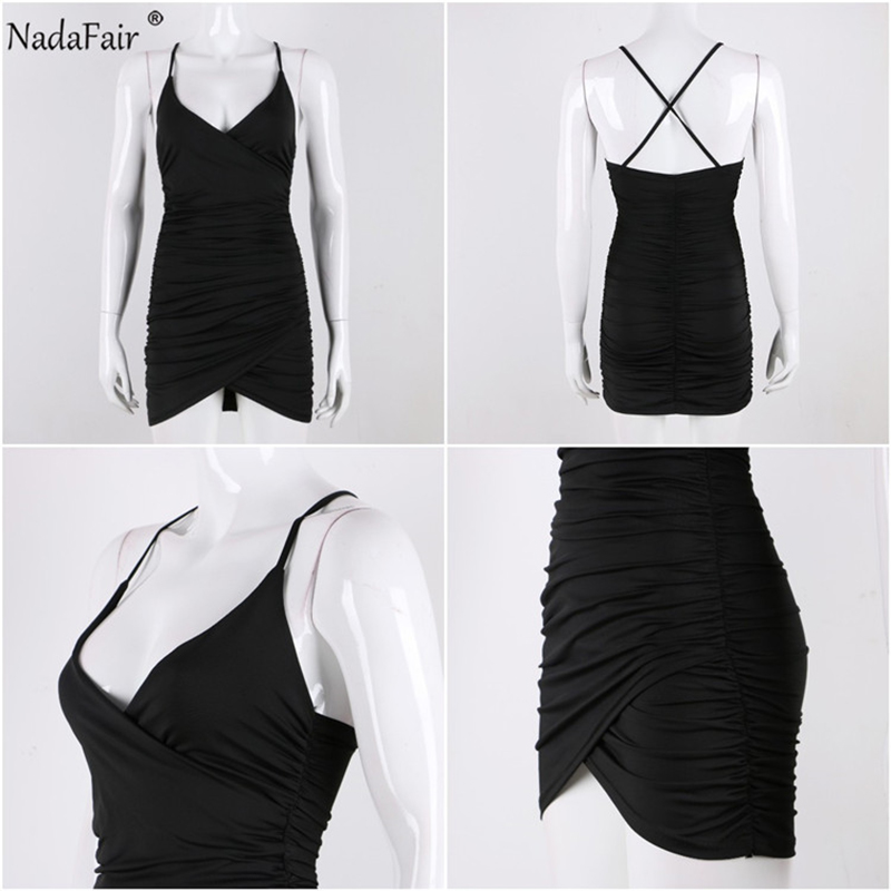 Nadafair Deep V Neck Club Sexy Bodycon Dress Women Ruched Backless Cross Red Black Party Bandage Mini Summer Dress Vestidos