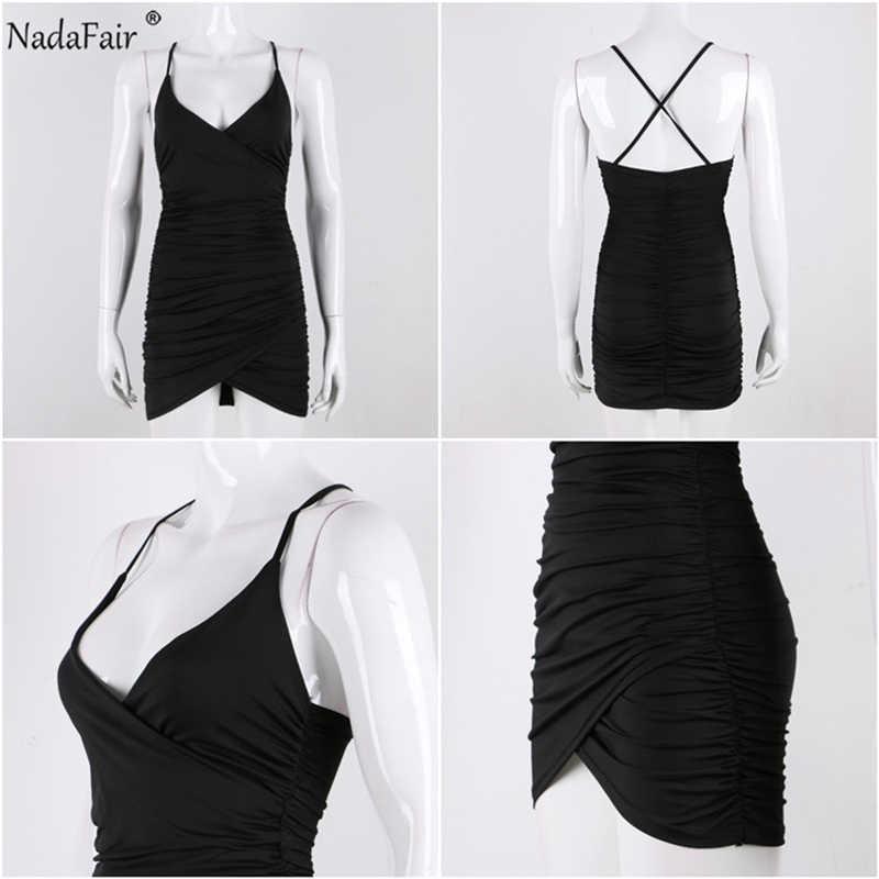 Nadafair глубокий v-образный вырез сексуальное для вечеринок облегающее платье женское с рюшами с открытой спиной Бандажное платье с перекрещиванием обертывание Мини Летнее платье красное черное Vestidos