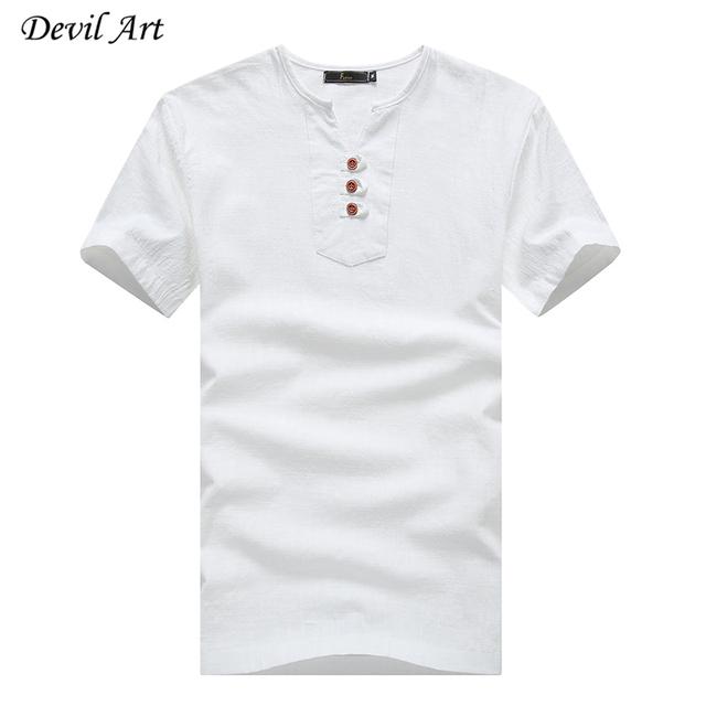 Envío Gratis 2017 Nuevos hombres de la Ropa de Verano 100% Algodón Camiseta Transpirable de Manga Corta Camiseta Con Cuello En V Tops T382