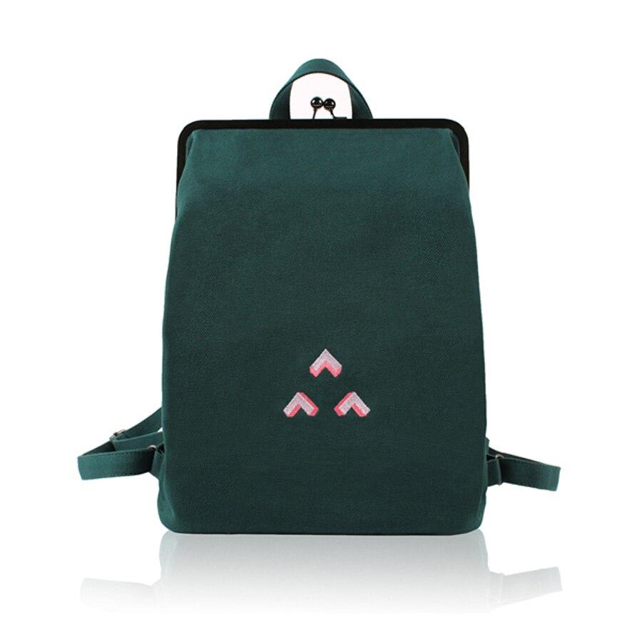 Yizi toile sac à dos femme simple mini sac à dos art étudiant sac broderie avec cadre en métal fermoir or adolescentes sac à dos
