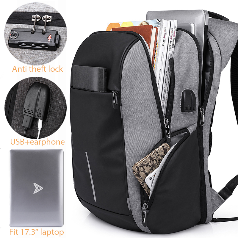 Men TSA Anti Theft Backpack Large capacity 17 3inch USB Backpack for Male Women 15 6