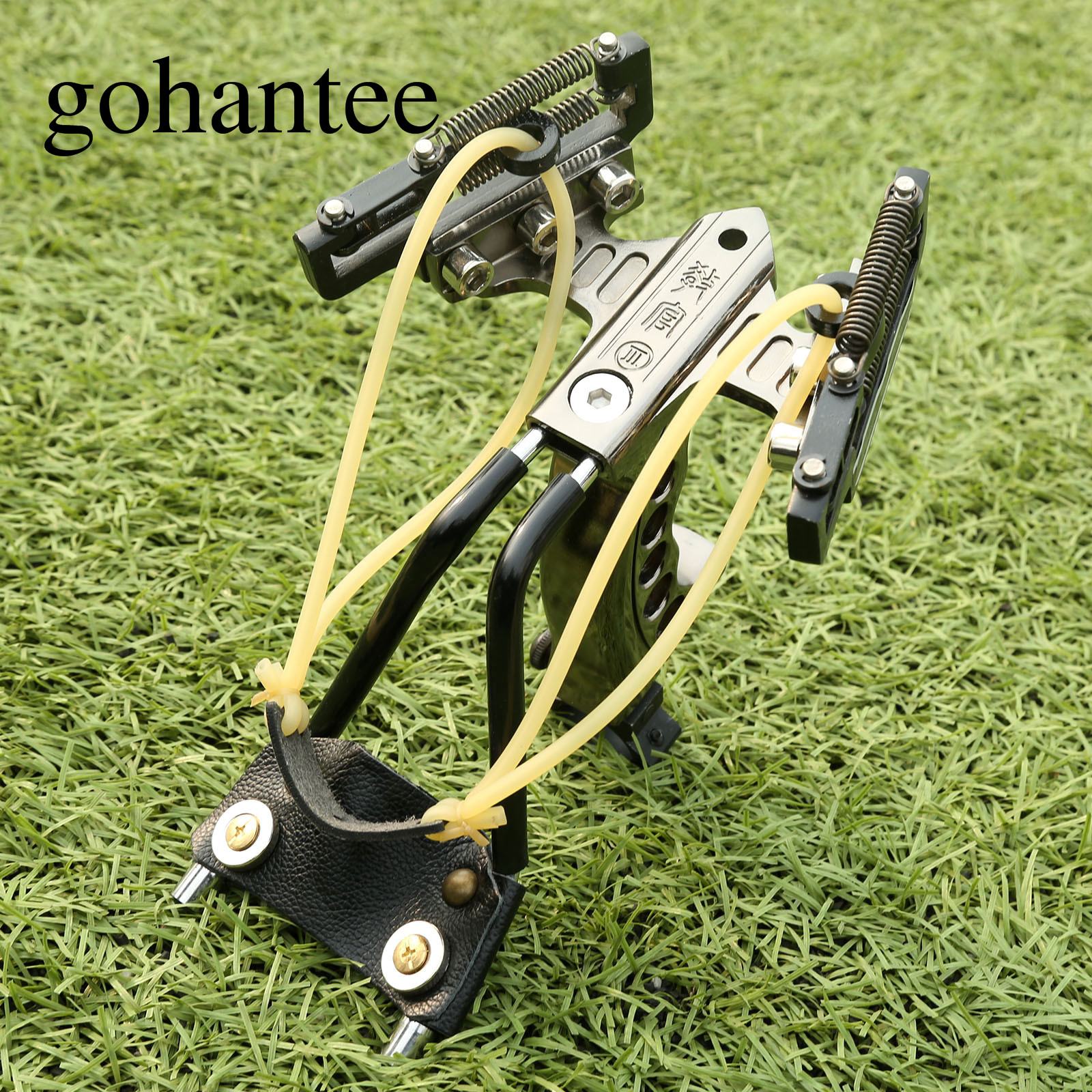 gohantee Tactical Heavy Duty Stainless Steel Slingshot with 4 Spring Wrist Brace Sling Shots Outdoor Hunting Slingshots Catapult shockproof kids children save protective