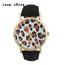 snowshine 10 Diamond Women Leopard Printing Pattern Weaved Leather Quartz Dial Watch free shipping