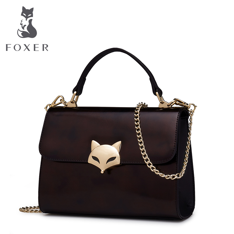FOXER Women Shoulder Bag Cow Leather  Handbag Crossbody Bag for Female Lady Brand Messenger Bag Fashion Simple Chain Tote Bags lacattura small bag women messenger bags split leather handbag lady tassels chain shoulder bag crossbody for girls summer colors