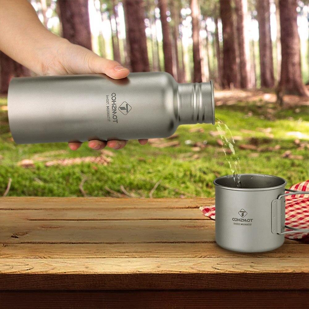 Lixada vaisselle d'extérieur 300 ml/750 ml bouteille d'eau en titane avec couvercle en plastique Extra-léger Camping en plein air randonnée cyclisme - 5