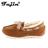 Fujin Winter Plush Women Suede Moccasins Bow Fur Lined Driving Loafers Boat Shoes Woman Comfortable Slip