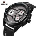 Мужские наручные часы BAGARI  Кварцевые водонепроницаемые наручные часы с кожаной подсветкой  2019