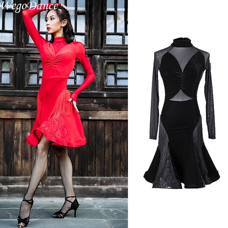 Nouvelles robes latines manches longues velours gland robes de danse de salon tango costume danse porter femme livraison gratuite