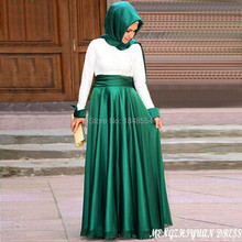 MZY519 lace appliqued two colors satin long sleeve green pink ivory muslim a-line hijab evening dress