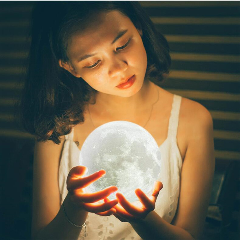 3D Print Moon Lamp Photo Custom Personality USB Rechargeable Nightlight Color Change Lunar Touch/Remote 2/16 Colors Moonlight