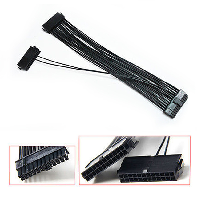 24Pin 20+4pin Dual PSU ATX Power Supply Adaptor Cable Connector For Mining 30cm EM88