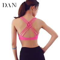 DANENJOY Women Sports Bra Crop Tops Chinese Knot Breathable Padded Fitness Yoga Bra Push Up Seamless