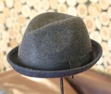 high quality fashion jazz hat women 100% wool hat dark grey elegant hat female warm beautiful hat formal costume haat matching