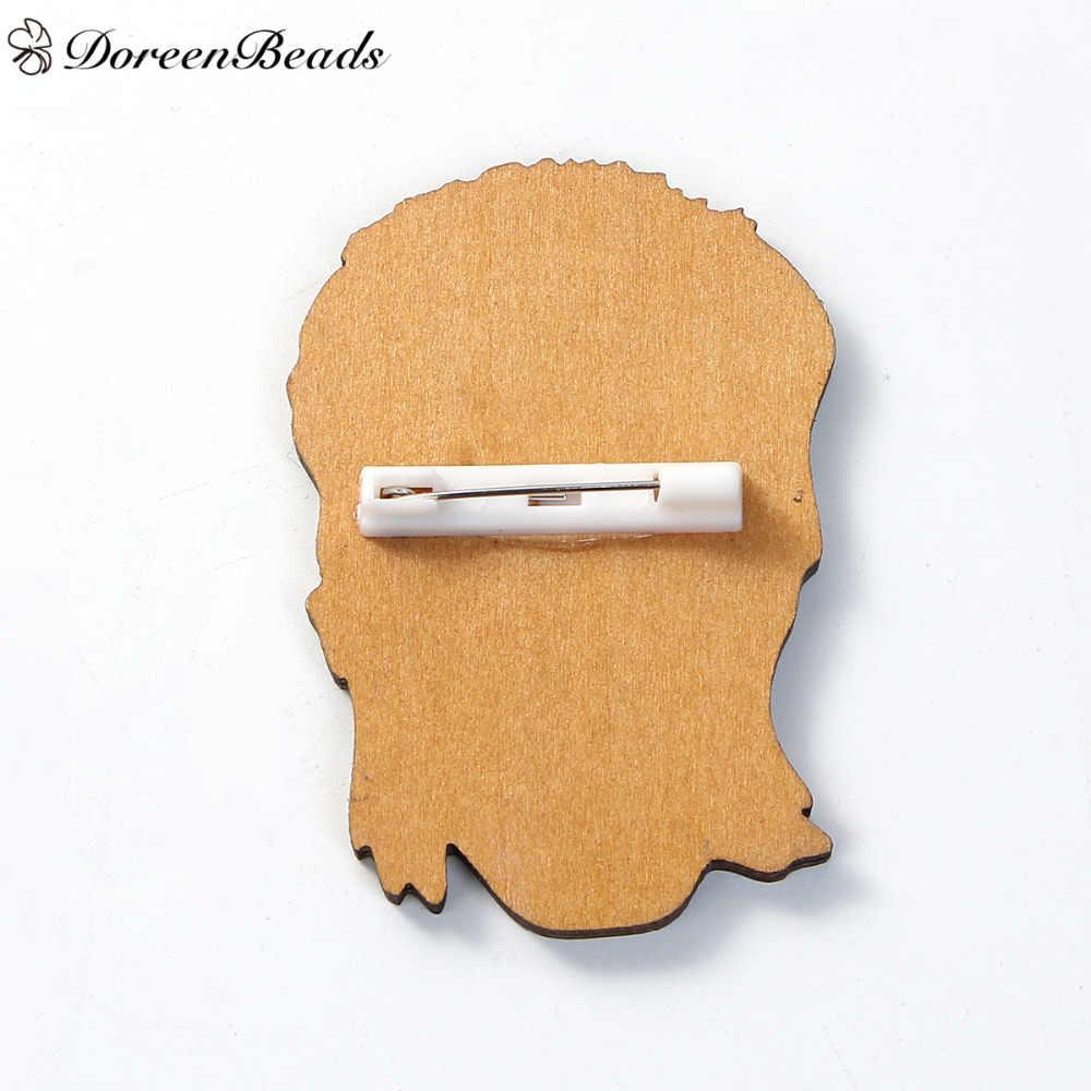 DoreenBeads 1 шт., деревянные значки для безопасности, броши в виде головы человека, молния, красная одежда, сумки, украшения