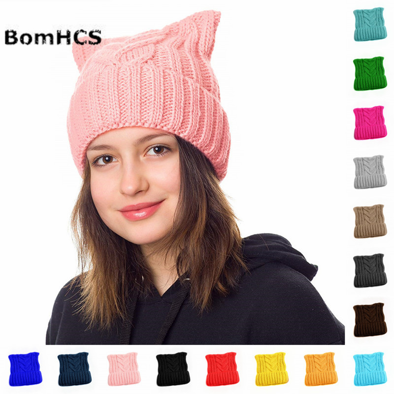 Cute Ears Pussy Cat Hat Women`s March-Cat Beanie Handmade Winter Warm Thick Knitted Hat