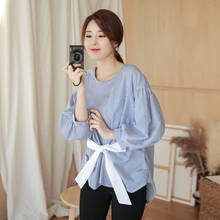 Milinsus  2019 Autumn clothing Korean style Round neck womens blouse Seven-point puff sleeve Striped bow decoration shirt