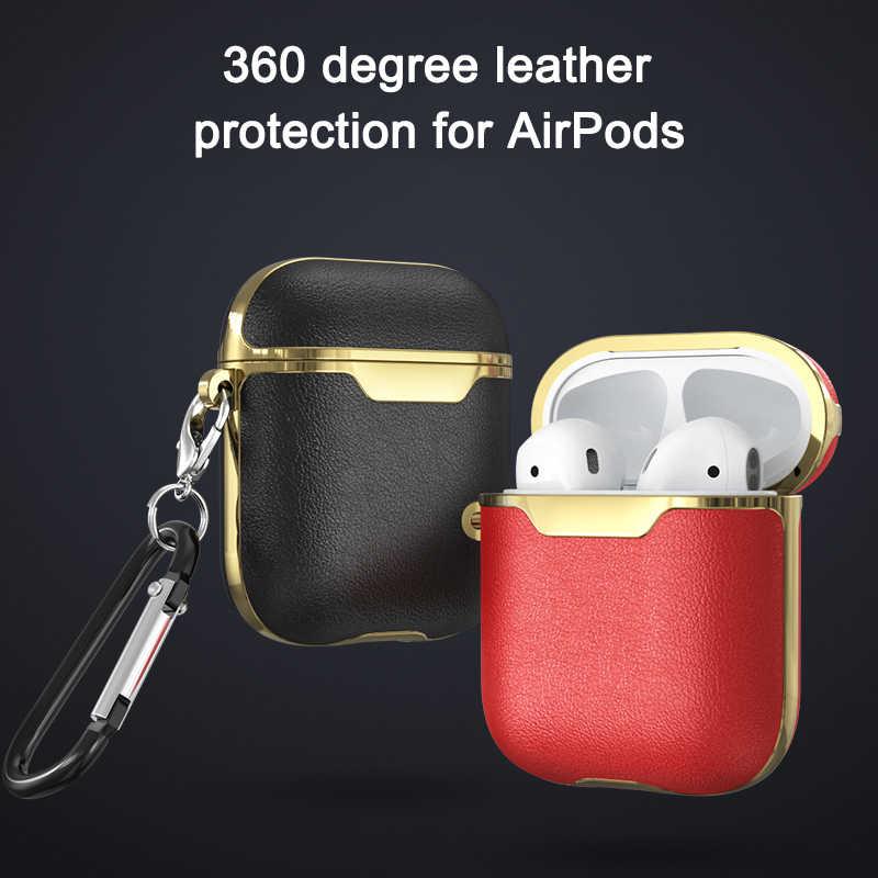 حافظة جلدية لاجهزة Airpods 2 لاجهزة ابل اير بودز ، حافظة بلوتوث ، سماعات جلدية للاكسسوارات