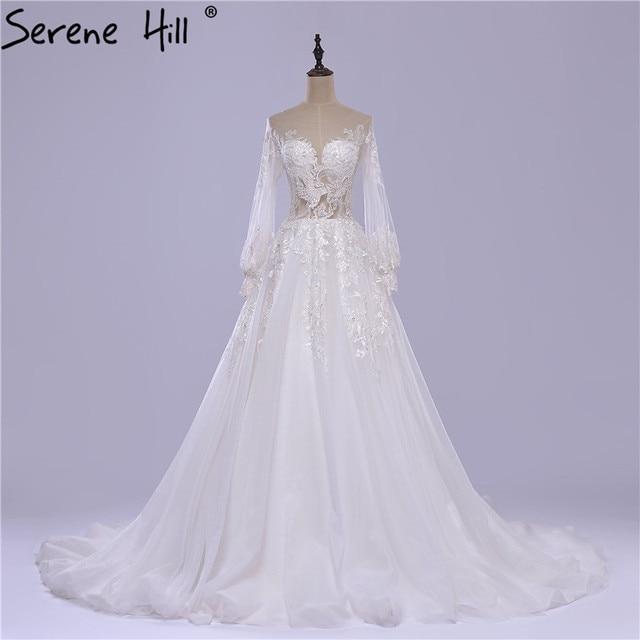 68be876c6 Vestido De Noiva Branco Vestido de Noiva de Tule Bordado com Mangas  Compridas Sexy Vestido de