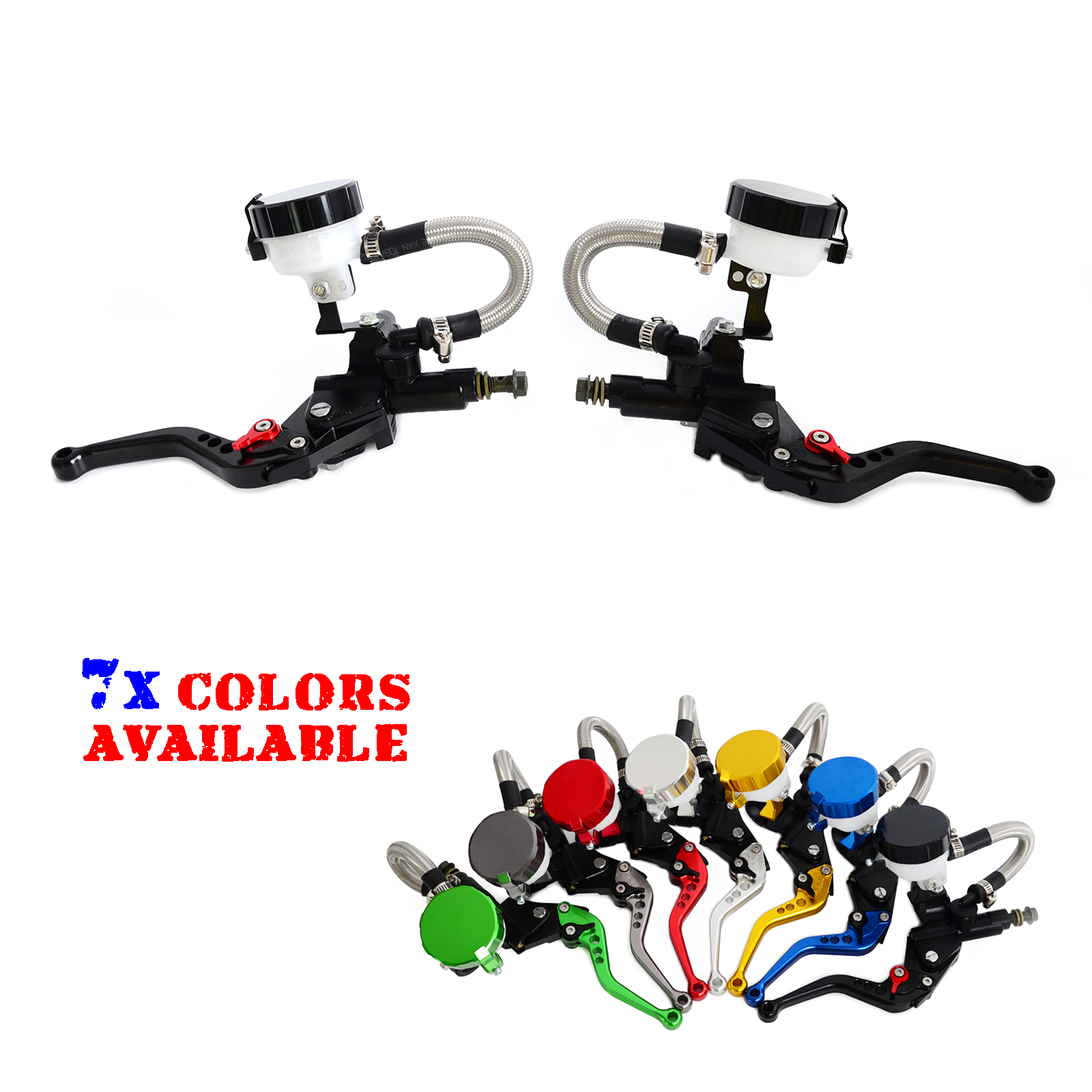 NICECNC Universal Motorcycle 7/8Clutch Brake Levers Master Cylinder Oil Fluid Reservoir Motocross Enduro Supermoto Dirt Bike crf250r 250x 450r 450x dirt bike motocross enduro modify cnc billet part brake reservoir cover brake hose clamp engine plugs kit