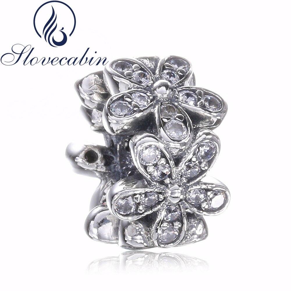 Slovecabin Fit Original Pandora Bracelet Classic 925 Sterling Silver Dazzling Daisies Sp ...