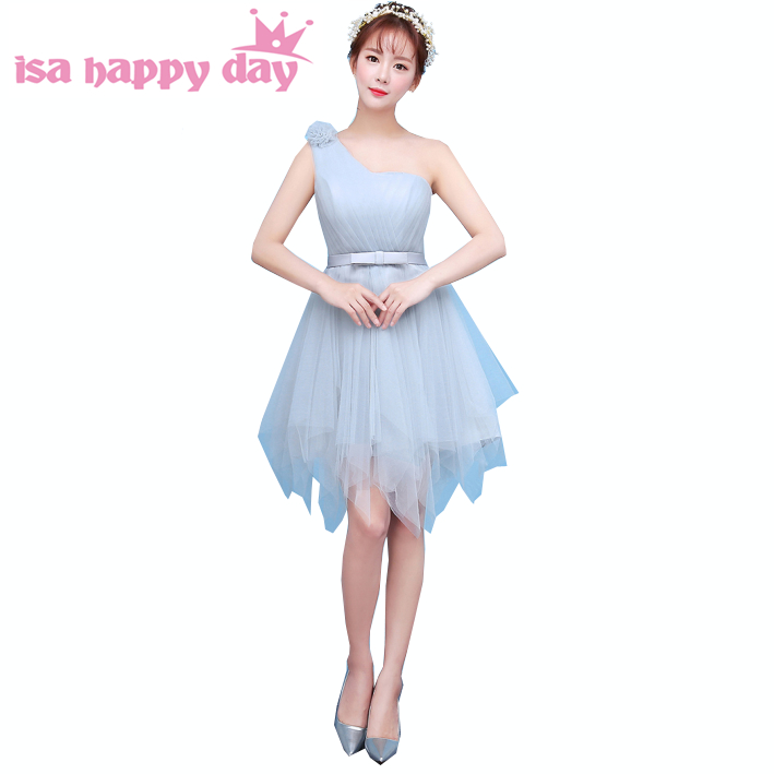 2017 elegant junior one shoulder goddess bridesmaid dress cheap short tulle dresses for teens ball gown under 30 H3883