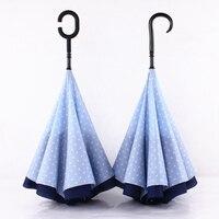 Long Handle Windproof Reverse Car Umbrella Creative Double Layer Umbrellas Uv Parasol Paraguas Rain Caps Sunny Umbrella 70D0283