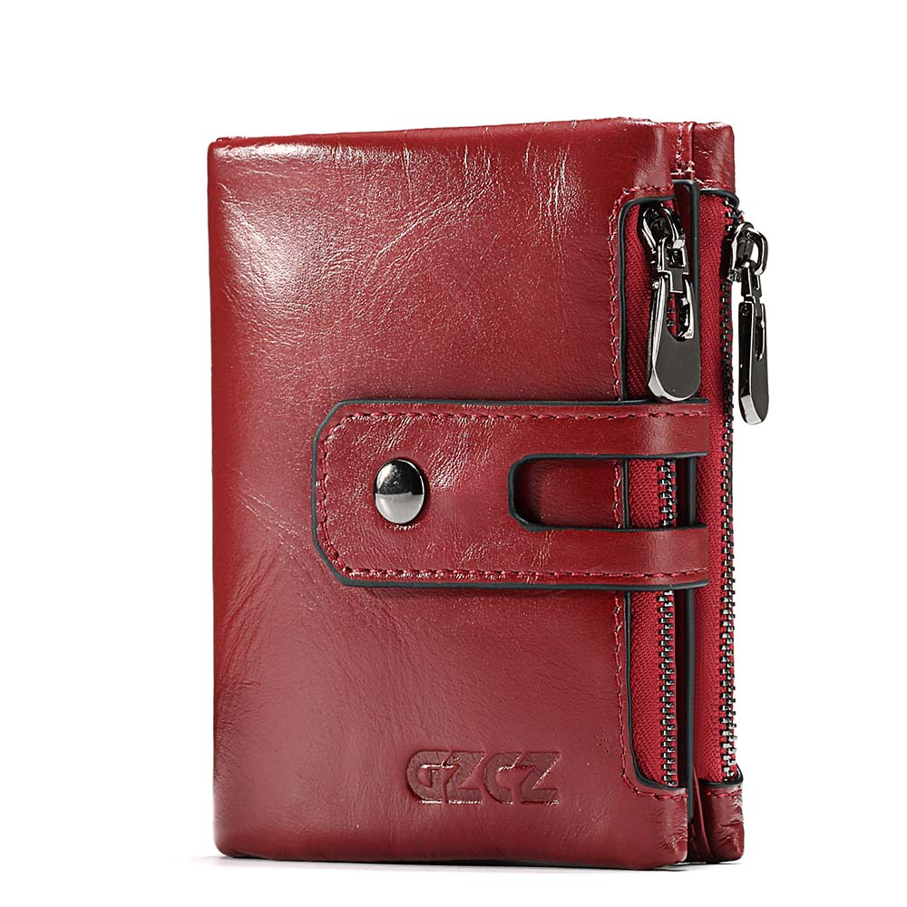 GZCZ New Ladies Short Purses Genuine Real Leather Mini Wallet Multi Pocket With Card Holder Coin Bags For Women Red Brown 2018 2018 new arrival women s wallet long genuine leather brand quality ladies purses with zipper coin pocket card holder bag