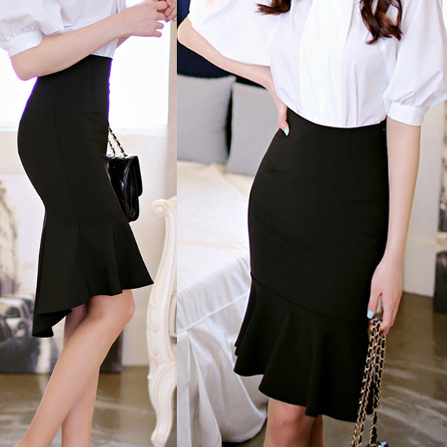 e48b3d35f Fashion 2016 Autumn Brand Casual High Waist Midi Pencil Fishtail Skirts  Women Female Flared Women's Long Skirt Black Plus Size
