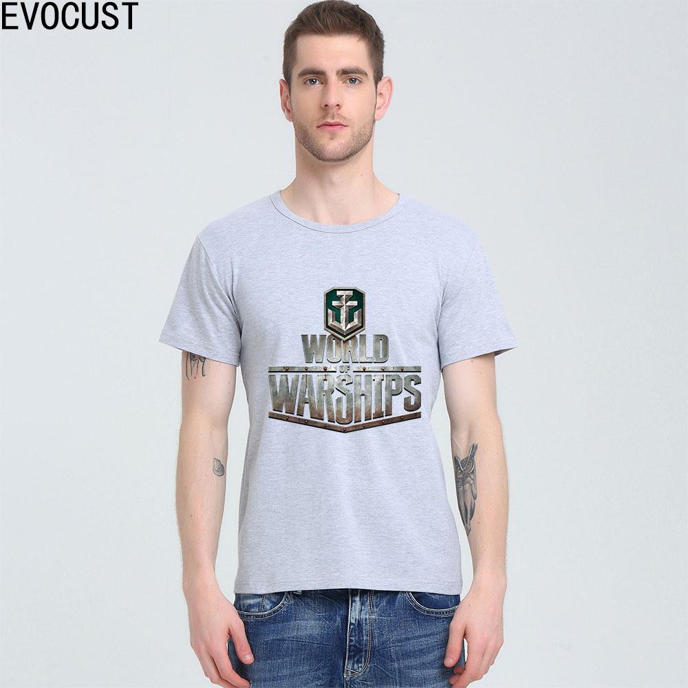 WORLD OF WARSHIPS T-shirt Top Lycra Camisa Dos Homens de Algodão T - Roupas masculinas