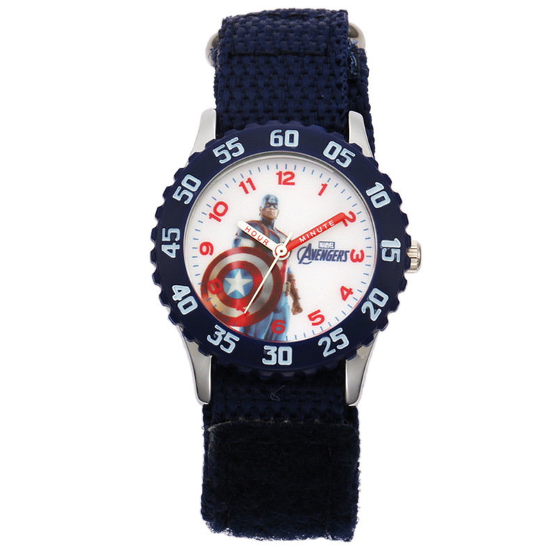 Children's Watch Disney brand children boys Nylon watches quartz cartoon Captain America Iron Man student waterproof wristwatch