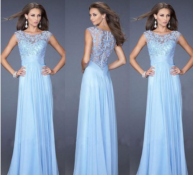 Europe Sexy Slim Lace Dress Light Blue Chiffon Fight Back Zipper Sexy Bridesmaid Ceremony Dress Banquet  Was Thin Hollow Dress
