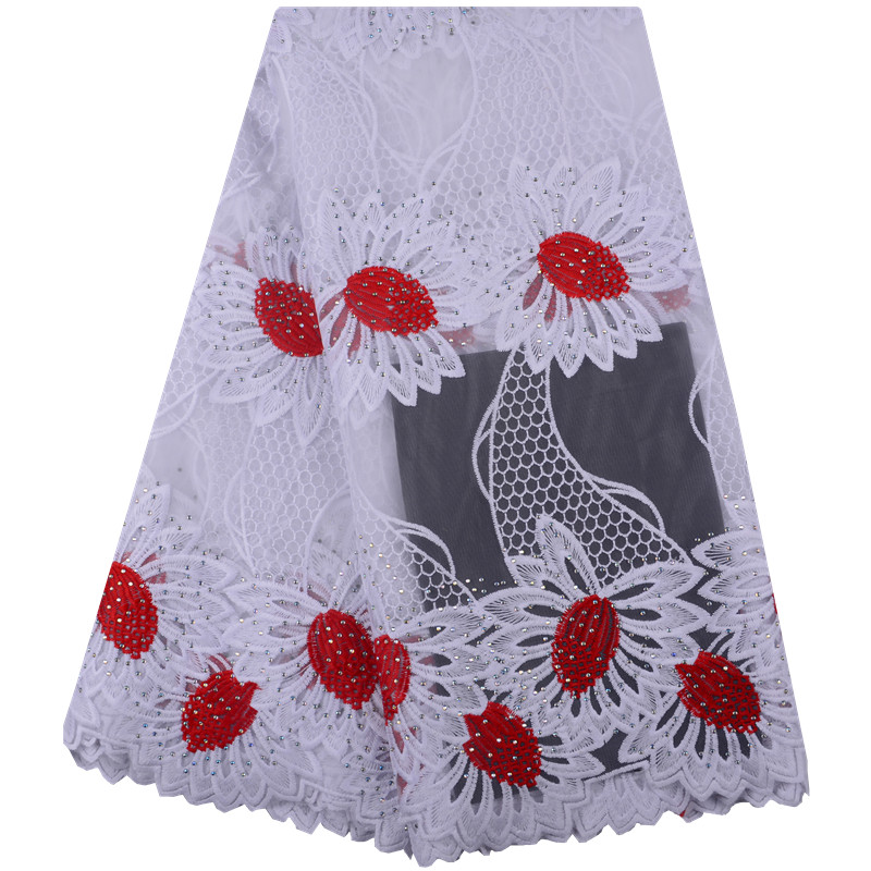 Latest White Red Nigerian French Mesh Lace Fabric With Stones High Quality African Bridal Milk Silk
