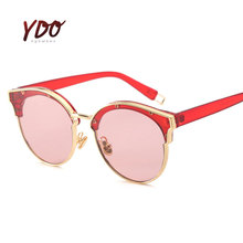 New Fashion Women Sunglasses Mirror Resin Lens Cat Eye Eyeglasses Metal Alloy Frame Outdoor Driving Retro Sun Glasses 1071
