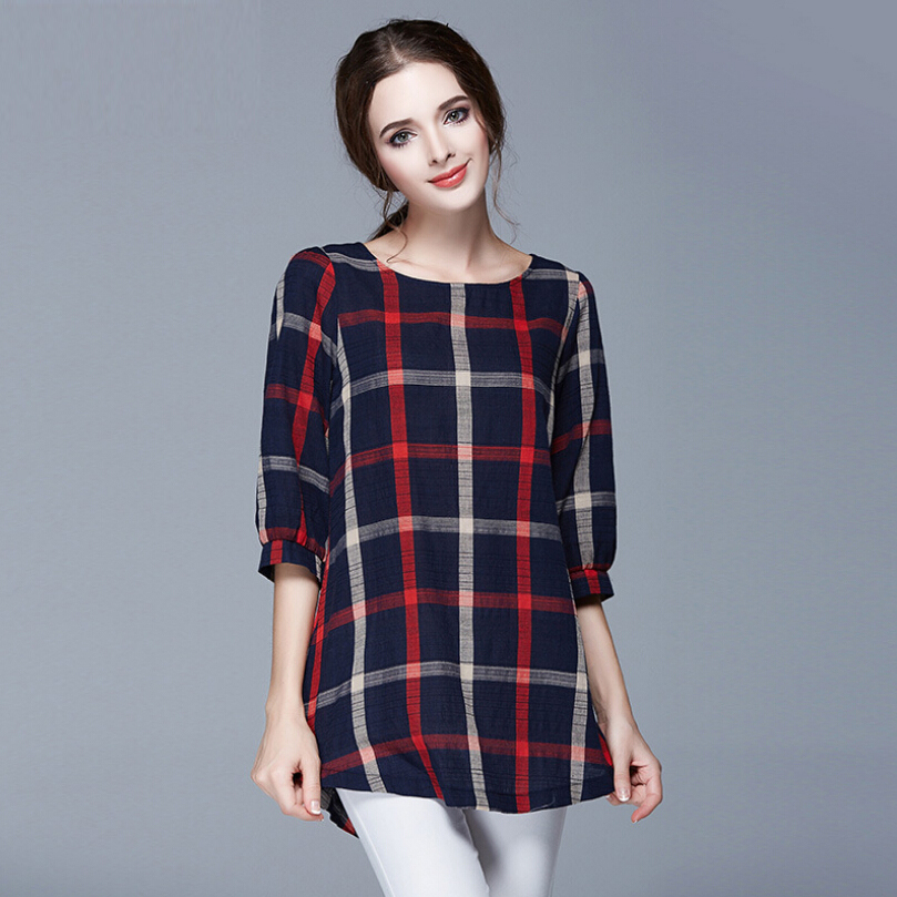 Vintage plaid women t shirts new 2016 autumn ladies tops o for 3 4 sleeve t shirts plus size