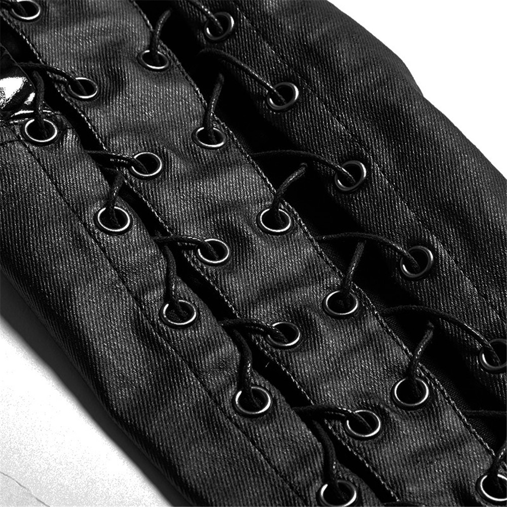 PUNK RAVE Pantaloni Delle Donne Punk di Personalità di Modo di Cuoio Dell'unità di elaborazione Nero Ghette Sexy Hip Hop Streetwear Pantaloni Scarni - 5