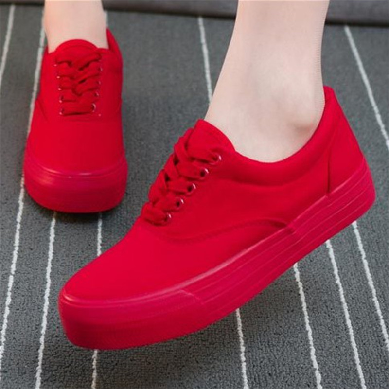 Women Canvas Shoes 2018 Summer Fashion Lace Up Solid Casual women's vulcanize shoes Platform Breathable Ladies Footwear DLD900 de la chance women vulcanize shoes platform breathable canvas shoes woman wedge sneakers casual fashion candy color students